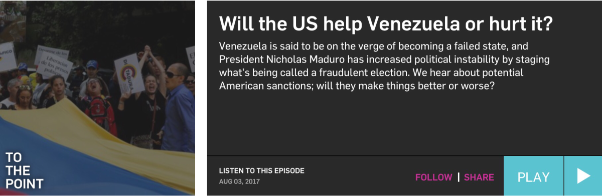KCRW's To the Point: Will the U.S. Help Venezuela or Hurt it?